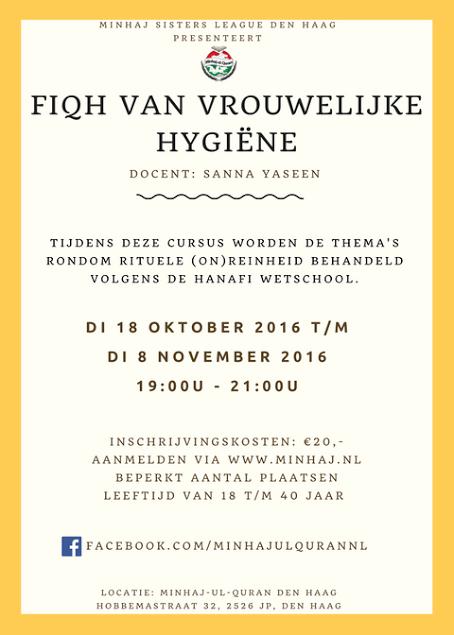 Cursus: Fiqh van vrouwelijke hygiëne || 18 oktober