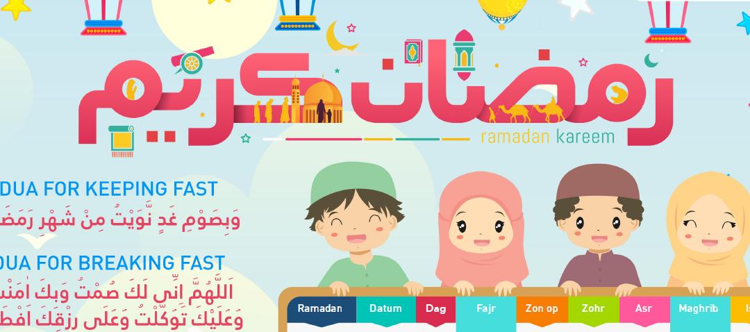 Ramadan Tracker met gebedstijden voor kinderen